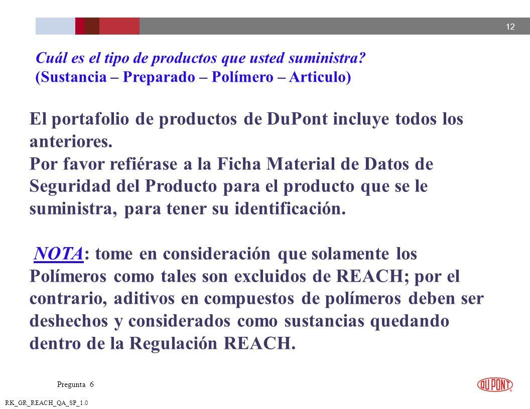 12 RK_GR_REACH_QA_SP_1.0 El portafolio de productos de DuPont incluye todos los anteriores. Por favor refiérase a la Ficha Material de Datos de Seguri