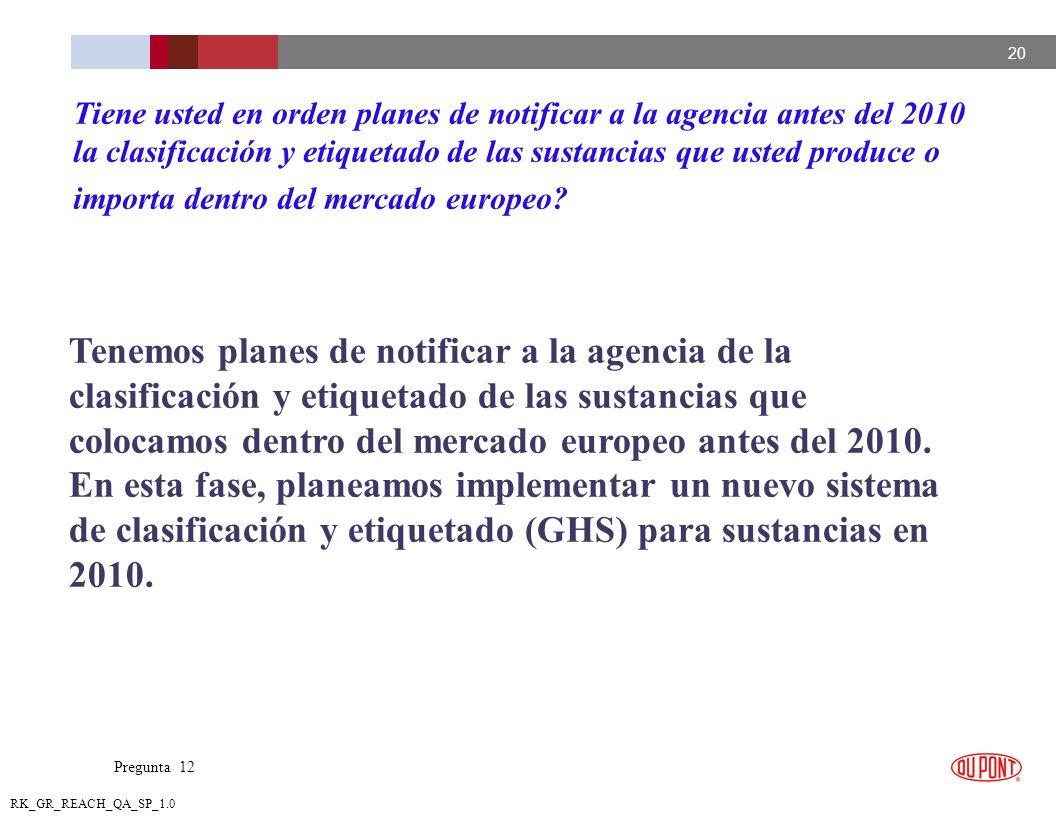 20 RK_GR_REACH_QA_SP_1.0 Tenemos planes de notificar a la agencia de la clasificación y etiquetado de las sustancias que colocamos dentro del mercado