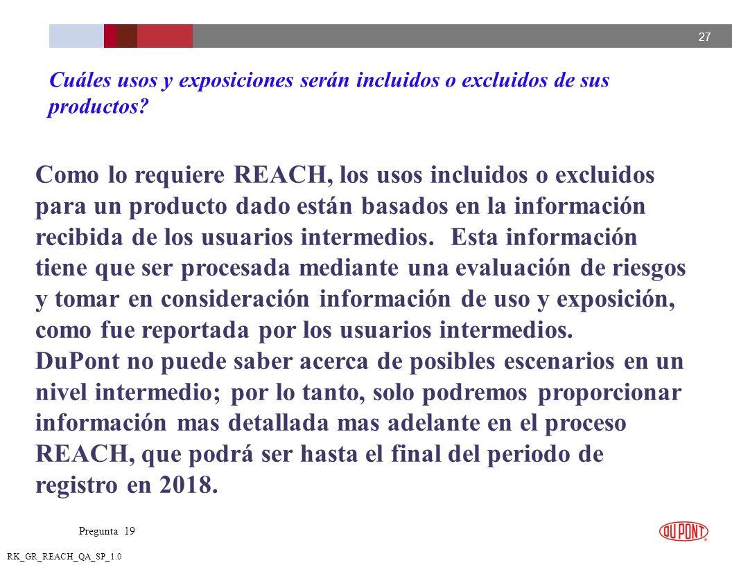 27 RK_GR_REACH_QA_SP_1.0 Como lo requiere REACH, los usos incluidos o excluidos para un producto dado están basados en la información recibida de los