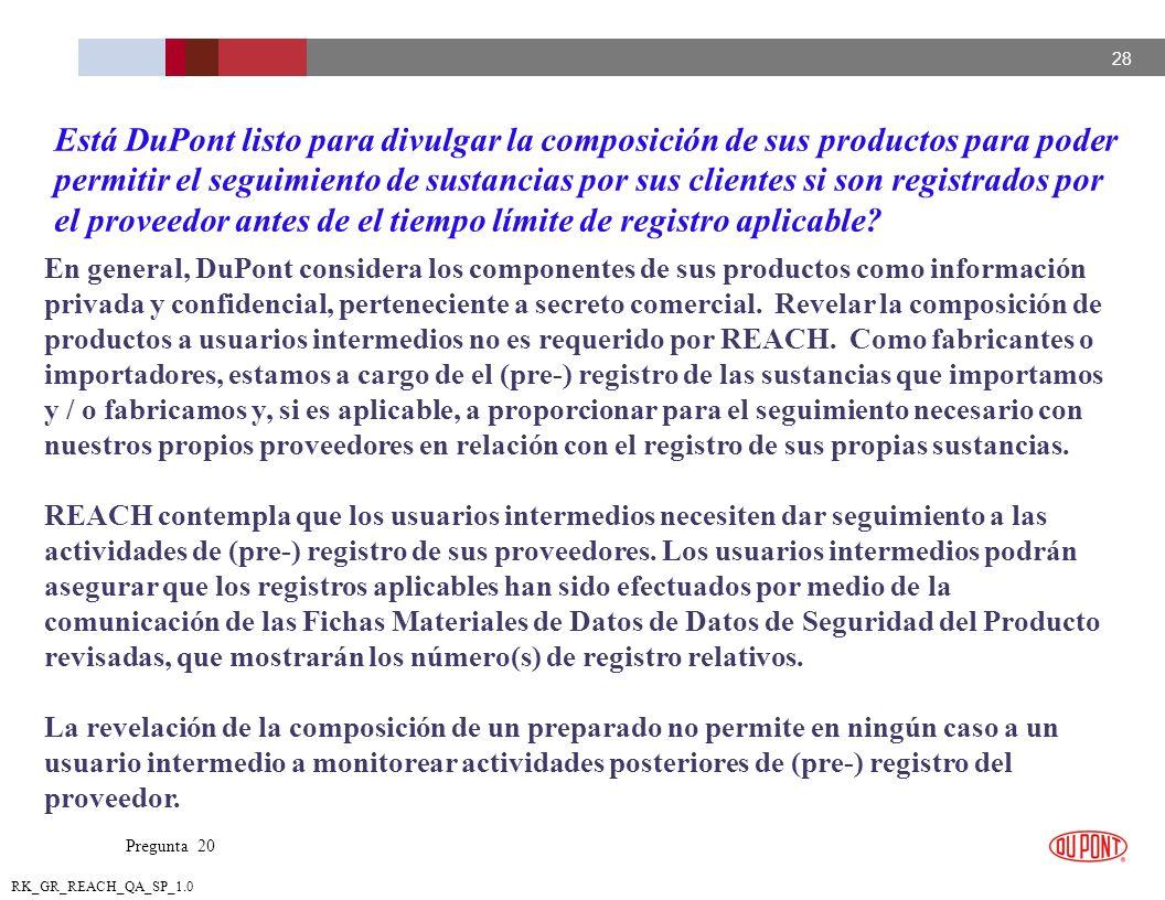 28 RK_GR_REACH_QA_SP_1.0 En general, DuPont considera los componentes de sus productos como información privada y confidencial, perteneciente a secret