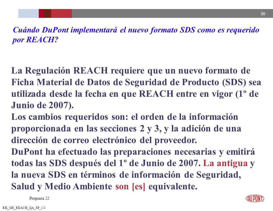 30 RK_GR_REACH_QA_SP_1.0 La Regulación REACH requiere que un nuevo formato de Ficha Material de Datos de Seguridad de Producto (SDS) sea utilizada des