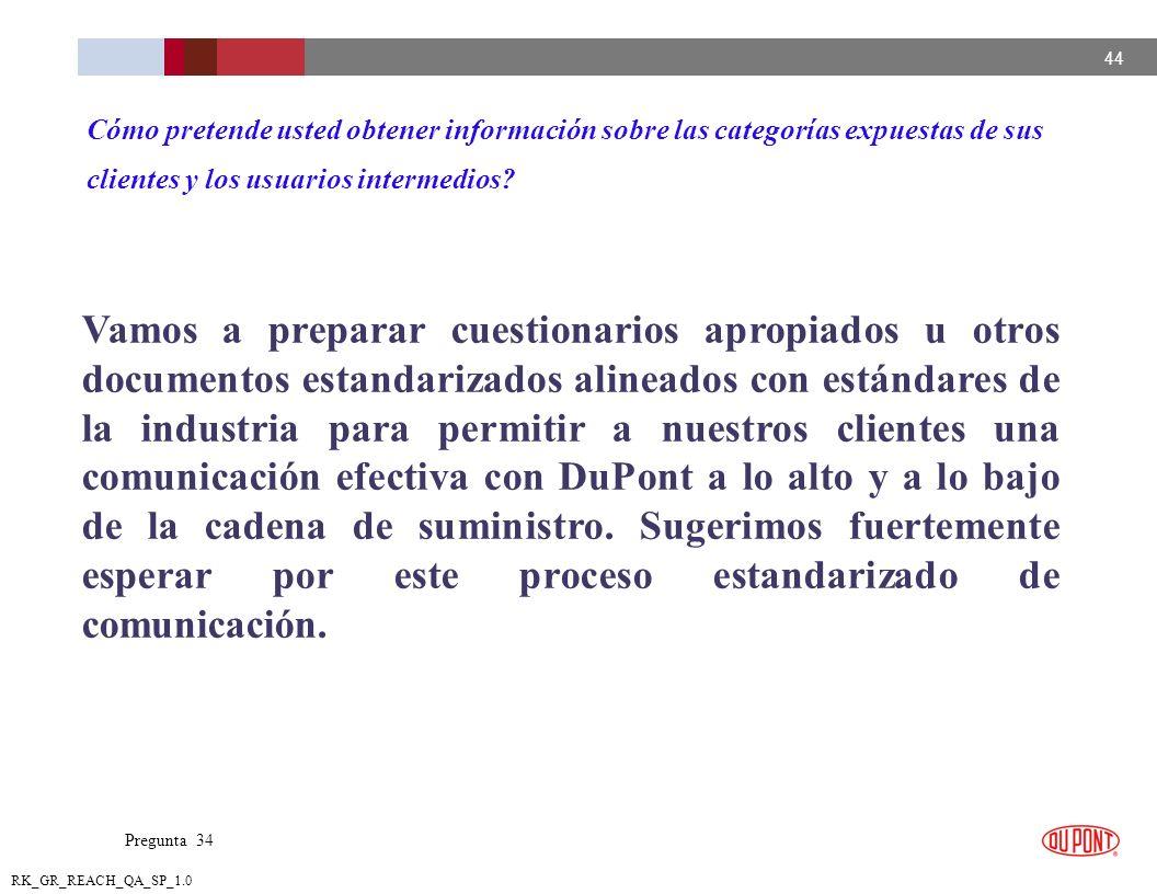 44 RK_GR_REACH_QA_SP_1.0 Vamos a preparar cuestionarios apropiados u otros documentos estandarizados alineados con estándares de la industria para per
