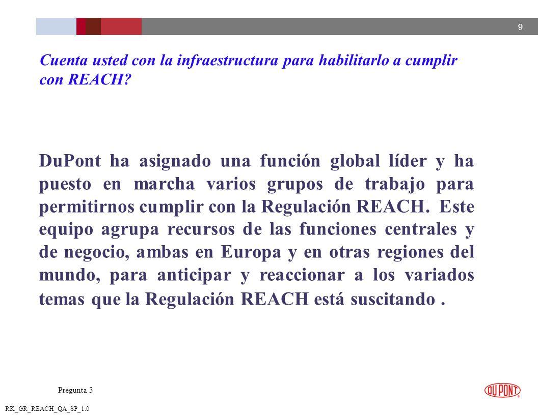 10 RK_GR_REACH_QA_SP_1.0 DuPont se mantiene totalmente comprometido en el debate relacionado con la implementación de la Regulación REACH, para asegurar que la aplicación final de la Regulación cumpla con el objetivo y necesidades de las partes interesadas de una manera balanceada.