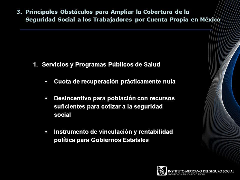 3.Principales Obstáculos para Ampliar la Cobertura de la Seguridad Social a los Trabajadores por Cuenta Propia en México 1.Servicios y Programas Públi