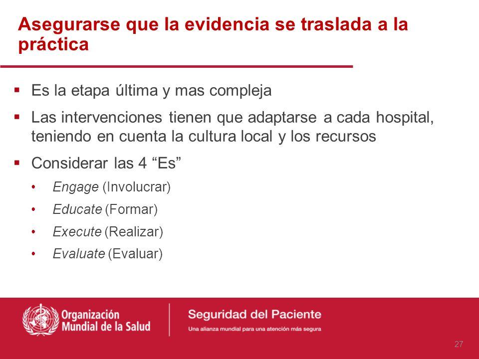 Estrategia para aplicar una práctica segura: de la teoría a la práctica Pronovost P. Translating evidence into practice: a model for large scale knowl