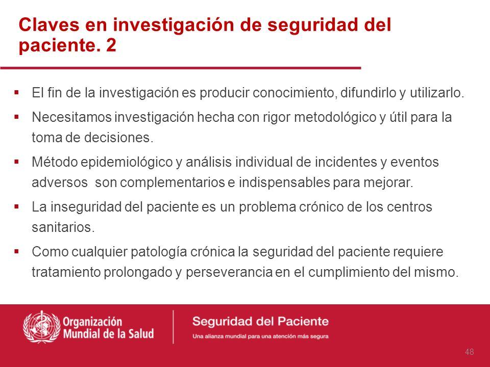 La seguridad del paciente es un problema que, con diferentes matices afecta a todos los países. La investigación es necesaria para: Identificar y desc
