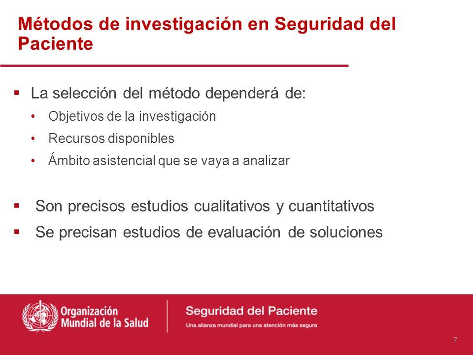 Áreas de investigación en seguridad del paciente Errores y sus determinantes Fallos latentes Incidentes y eventos adversos Resultados de intervencione