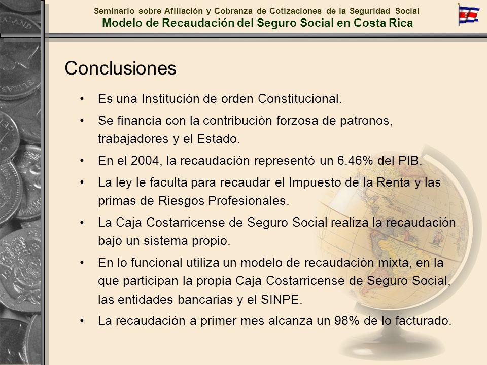 Conclusiones Es una Institución de orden Constitucional. Se financia con la contribución forzosa de patronos, trabajadores y el Estado. En el 2004, la