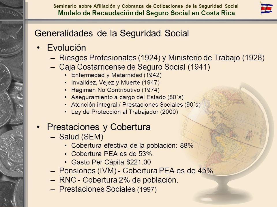 Seminario sobre Afiliación y Cobranza de Cotizaciones de la Seguridad Social Modelo de Recaudación del Seguro Social en Costa Rica Sistema Centralizado de Recaudación Resultados del modelo de recaudación Comportamiento de los índices de morosidad