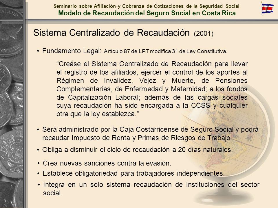 Sistema Centralizado de Recaudación (2001) Seminario sobre Afiliación y Cobranza de Cotizaciones de la Seguridad Social Modelo de Recaudación del Segu