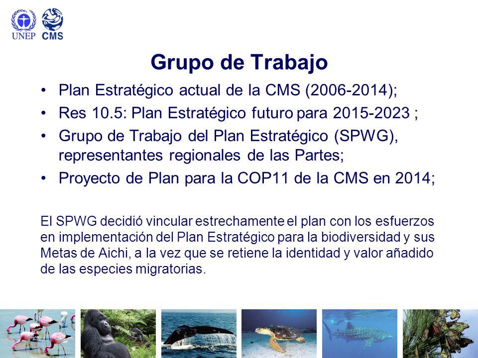 Grupo de Trabajo Plan Estratégico actual de la CMS (2006-2014); Res 10.5: Plan Estratégico futuro para 2015-2023 ; Grupo de Trabajo del Plan Estratégi