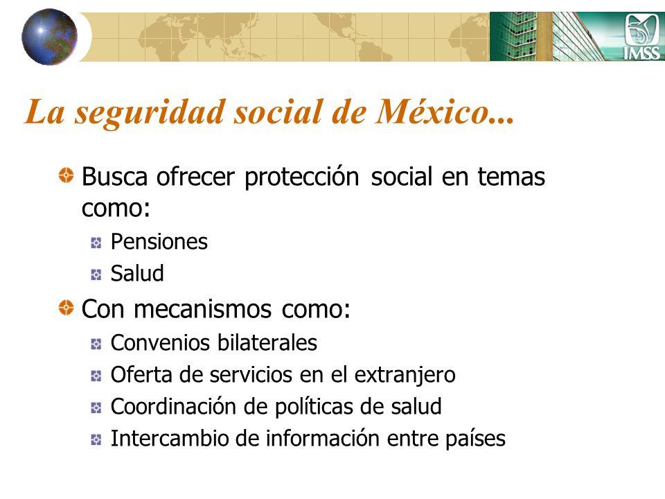 La seguridad social de México... Busca ofrecer protección social en temas como: Pensiones Salud Con mecanismos como: Convenios bilaterales Oferta de s