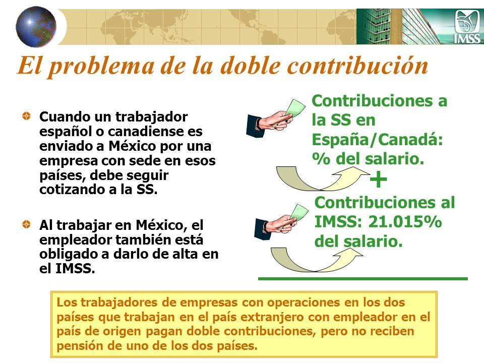 El problema de la doble contribución Cuando un trabajador español o canadiense es enviado a México por una empresa con sede en esos países, debe segui