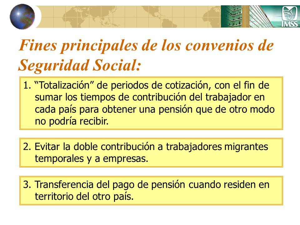 Fines principales de los convenios de Seguridad Social: 1. Totalización de periodos de cotización, con el fin de sumar los tiempos de contribución del