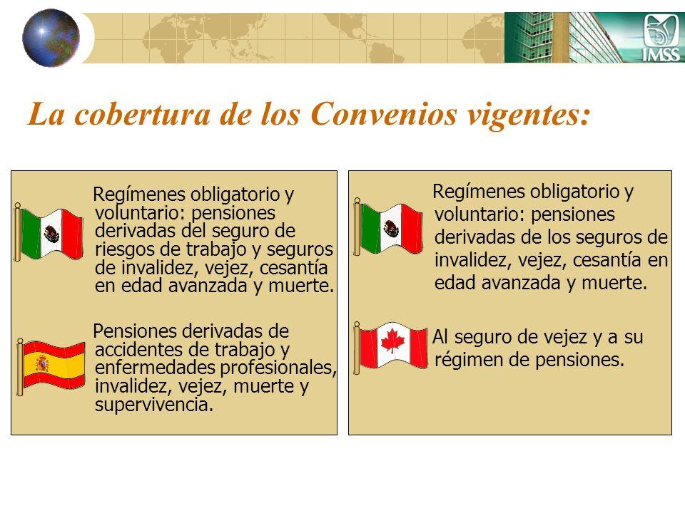 La cobertura de los Convenios vigentes: Regímenes obligatorio y voluntario: pensiones derivadas del seguro de riesgos de trabajo y seguros de invalide