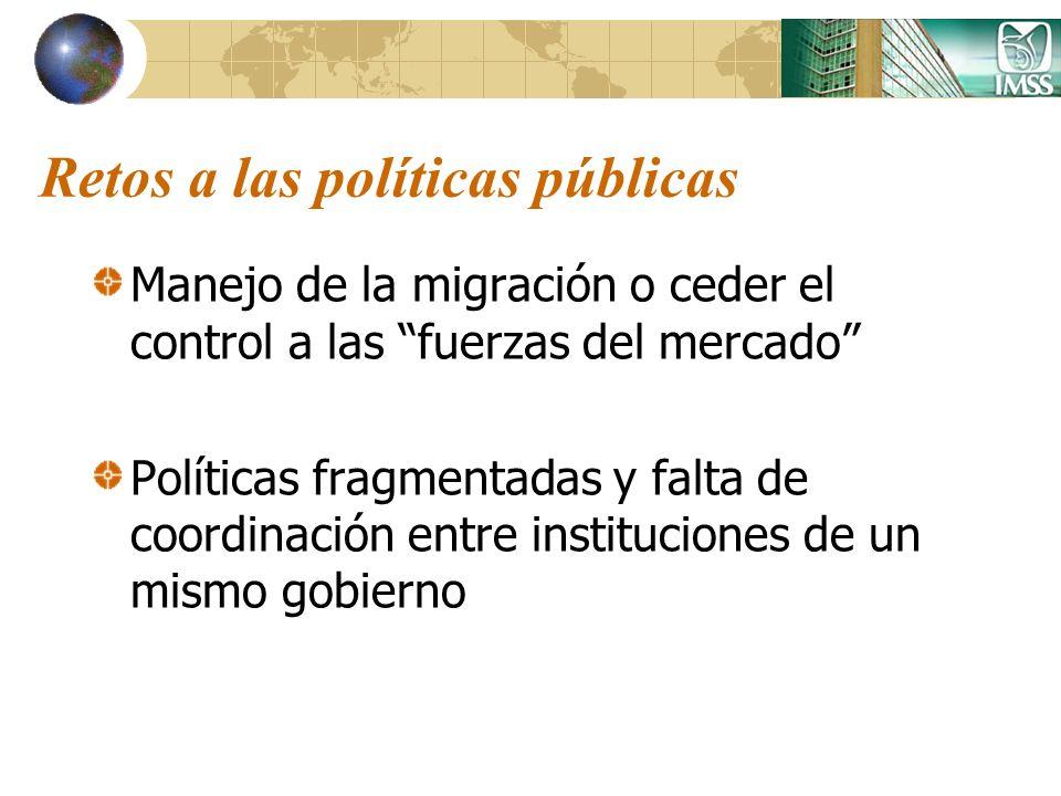 Retos a las políticas públicas Manejo de la migración o ceder el control a las fuerzas del mercado Políticas fragmentadas y falta de coordinación entr