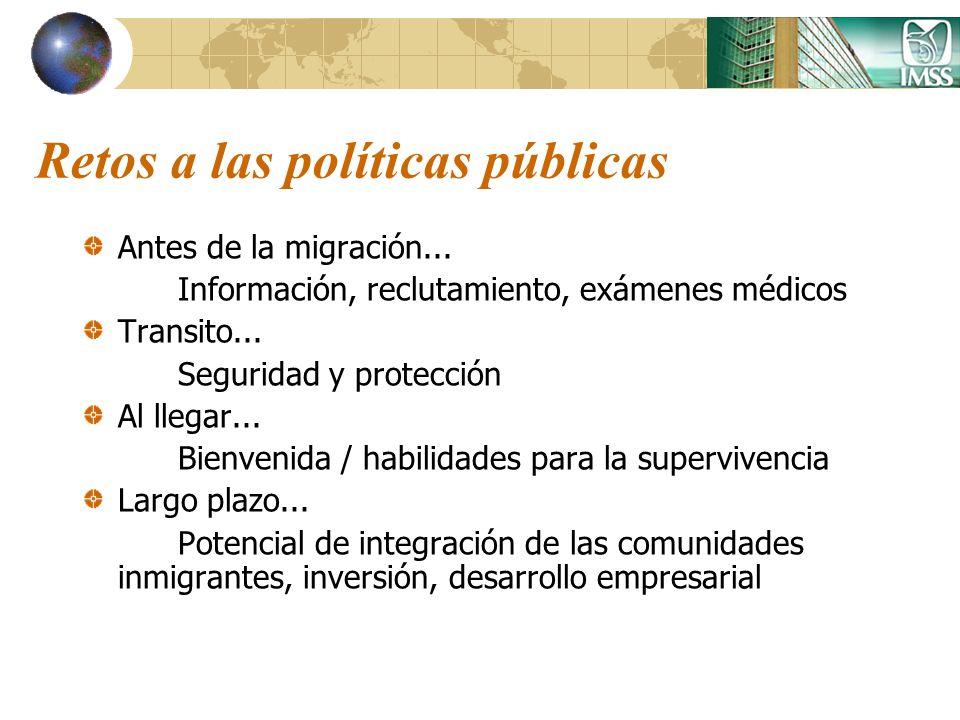 Retos a las políticas públicas Antes de la migración... Información, reclutamiento, exámenes médicos Transito... Seguridad y protección Al llegar... B