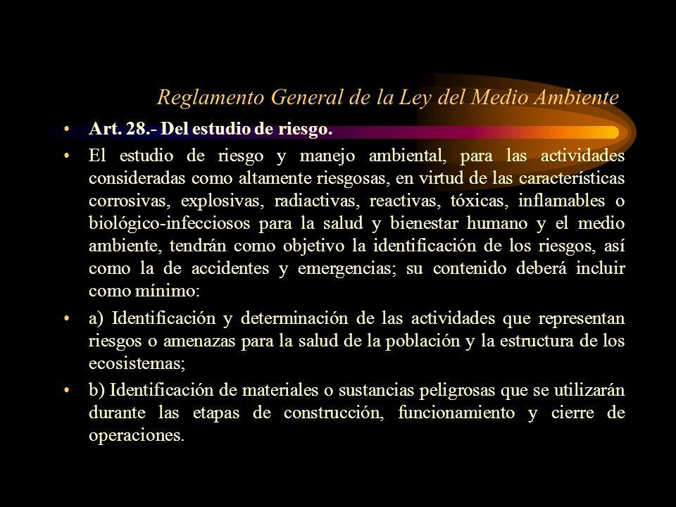 Reglamento General de la Ley del Medio Ambiente Art. 28.- Del estudio de riesgo. El estudio de riesgo y manejo ambiental, para las actividades conside