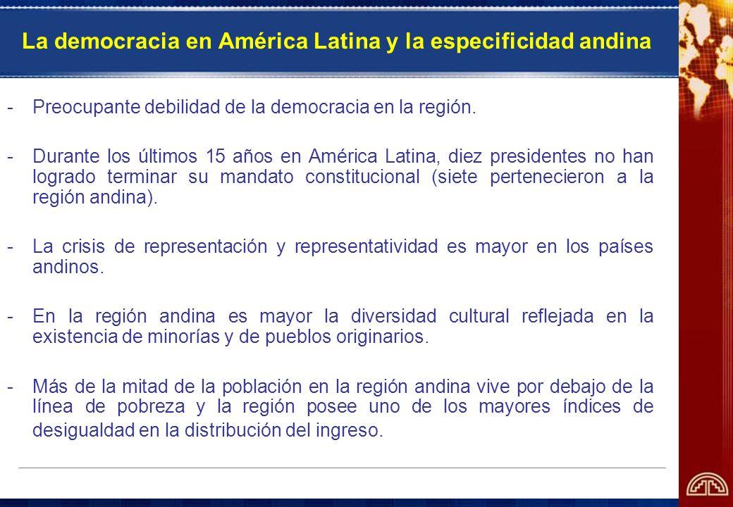 La democracia en América Latina y la especificidad andina -Preocupante debilidad de la democracia en la región. -Durante los últimos 15 años en Améric