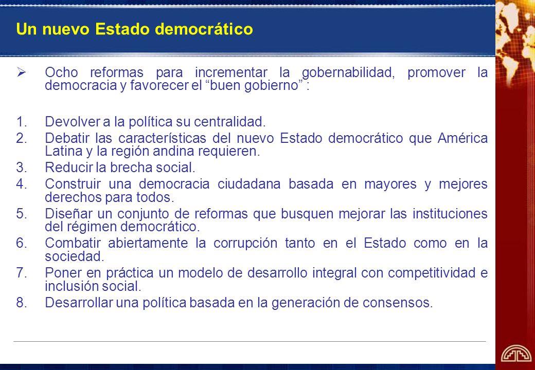 Un nuevo Estado democrático Ocho reformas para incrementar la gobernabilidad, promover la democracia y favorecer el buen gobierno : 1.Devolver a la po