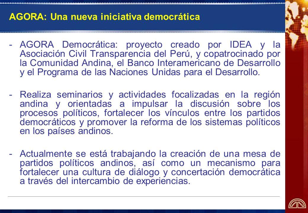 AGORA: Una nueva iniciativa democrática -AGORA Democrática: proyecto creado por IDEA y la Asociación Civil Transparencia del Perú, y copatrocinado por