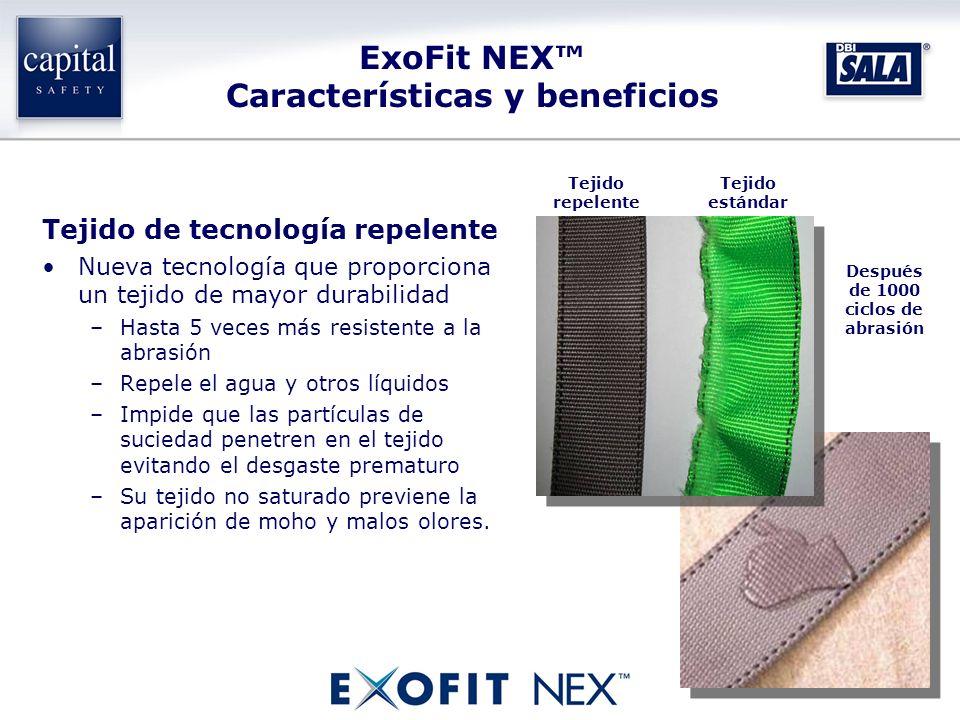 Tejido de tecnología repelente Nueva tecnología que proporciona un tejido de mayor durabilidad –Hasta 5 veces más resistente a la abrasión –Repele el