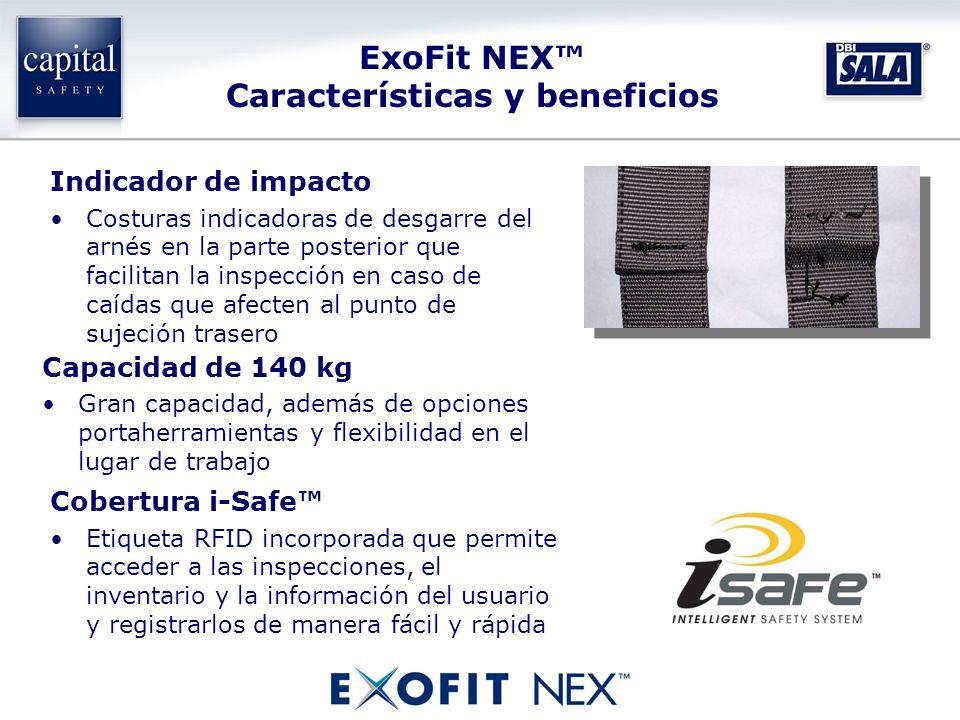 Capacidad de 140 kg Gran capacidad, además de opciones portaherramientas y flexibilidad en el lugar de trabajo Indicador de impacto Costuras indicador