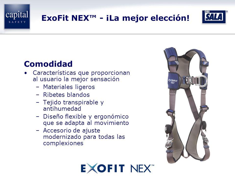 ExoFit NEX - ¡La mejor elección! Comodidad Características que proporcionan al usuario la mejor sensación –Materiales ligeros –Ribetes blandos –Tejido
