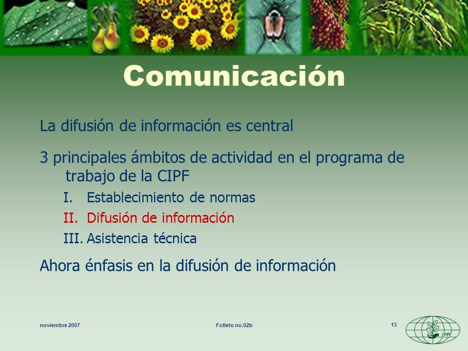 noviembre 2007Folleto no.02b 13 Comunicación La difusión de información es central 3 principales ámbitos de actividad en el programa de trabajo de la