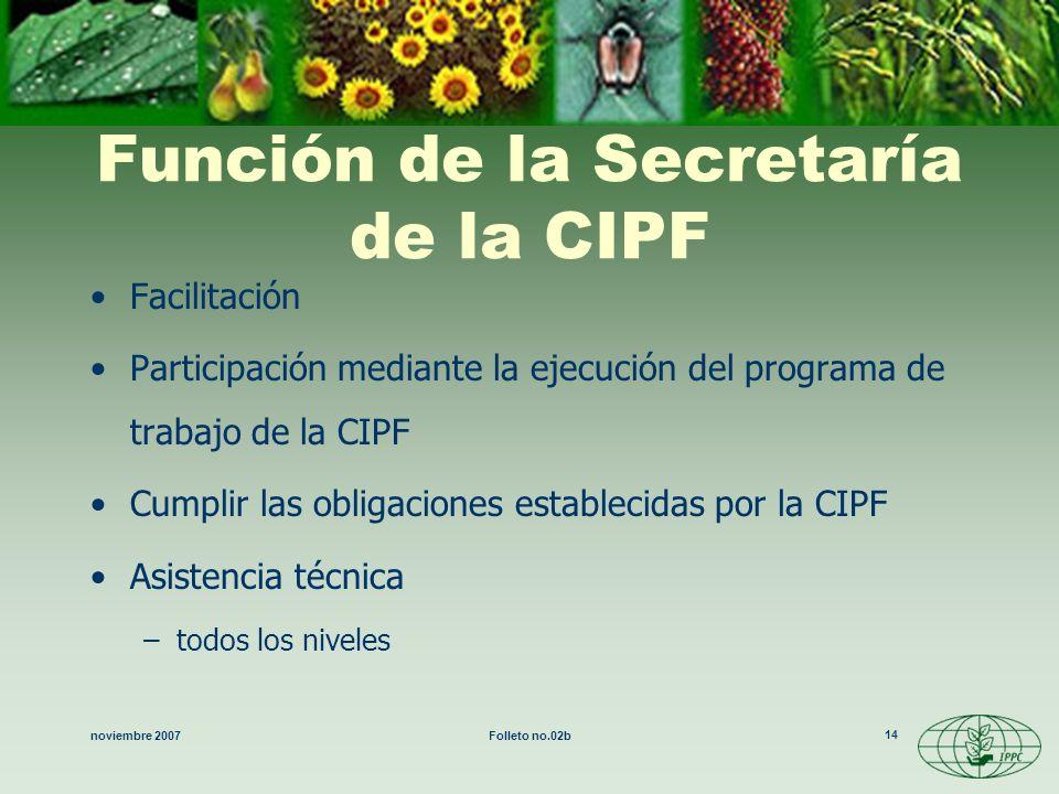 noviembre 2007Folleto no.02b 14 Función de la Secretaría de la CIPF Facilitación Participación mediante la ejecución del programa de trabajo de la CIP