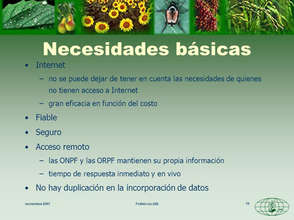 noviembre 2007Folleto no.02b 19 Necesidades básicas Internet –no se puede dejar de tener en cuenta las necesidades de quienes no tienen acceso a Inter