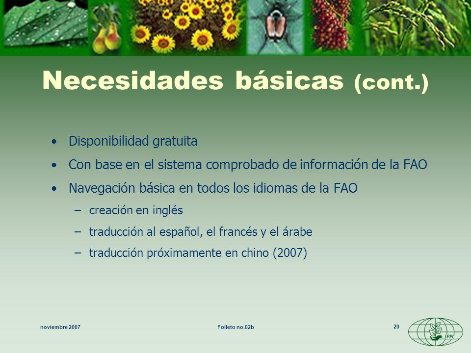 noviembre 2007Folleto no.02b 20 Necesidades básicas (cont.) Disponibilidad gratuita Con base en el sistema comprobado de información de la FAO Navegac