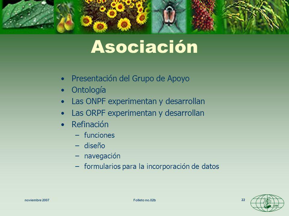 noviembre 2007Folleto no.02b 22 Asociación Presentación del Grupo de Apoyo Ontología Las ONPF experimentan y desarrollan Las ORPF experimentan y desar