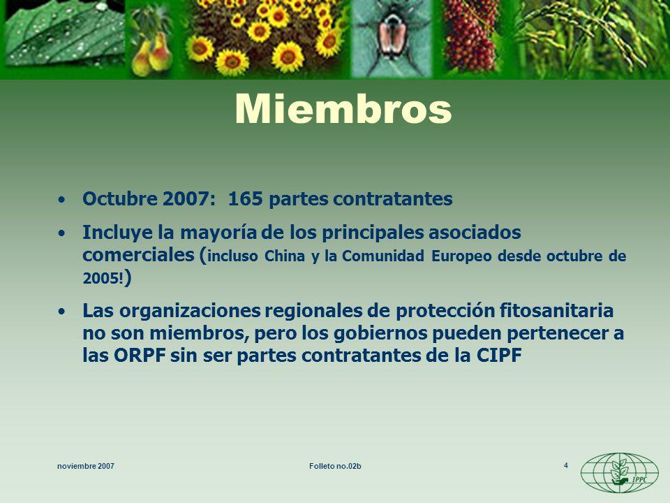 noviembre 2007Folleto no.02b 4 Miembros Octubre 2007: 165 partes contratantes Incluye la mayoría de los principales asociados comerciales ( incluso Ch