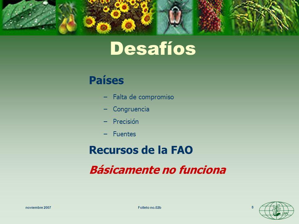 noviembre 2007Folleto no.02b 9 Revisión de la CIPF Modernización de la CIPF –comercio Se necesita congruencia con el Acuerdo MSF-OMC –establecimiento de normas Institucionalización (1992: se hacen oficiales la Secretaría y el establecimiento de normas) –FAO = Secretaría de la CIPF (en el Servicio de Protección Vegetal de la FAO) –nacional Conferencia de la FAO –adopción en 1997 –1998: se distribuye el nuevo texto revisado a los miembros para obtener su aceptación y aprobación –Octubre 2 de 2005, entra en vigor tras la aceptación de dos tercios de las partes contratantes.