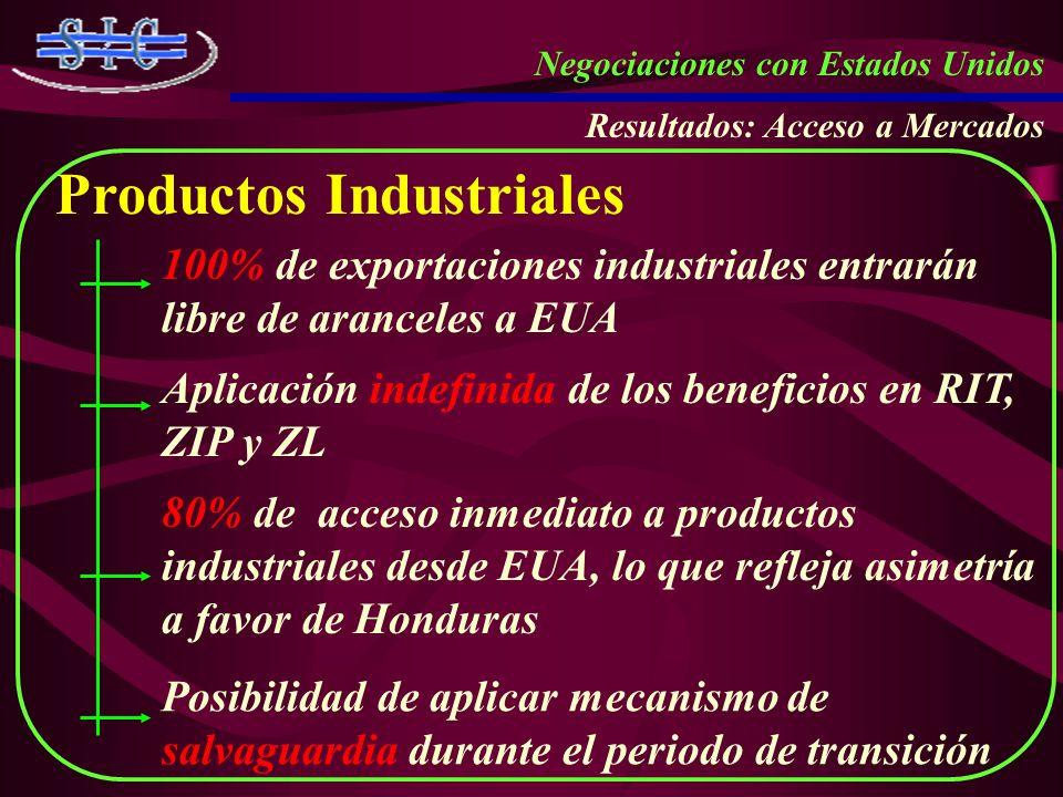 Negociaciones con Estados Unidos Resultados: Acceso a Mercados Productos Industriales 100% de exportaciones industriales entrarán libre de aranceles a