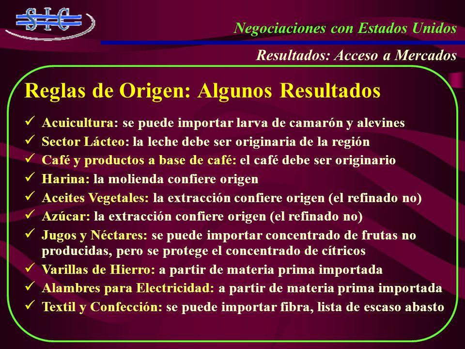 Negociaciones con Estados Unidos Resultados: Acceso a Mercados Reglas de Origen: Algunos Resultados Acuicultura: se puede importar larva de camarón y