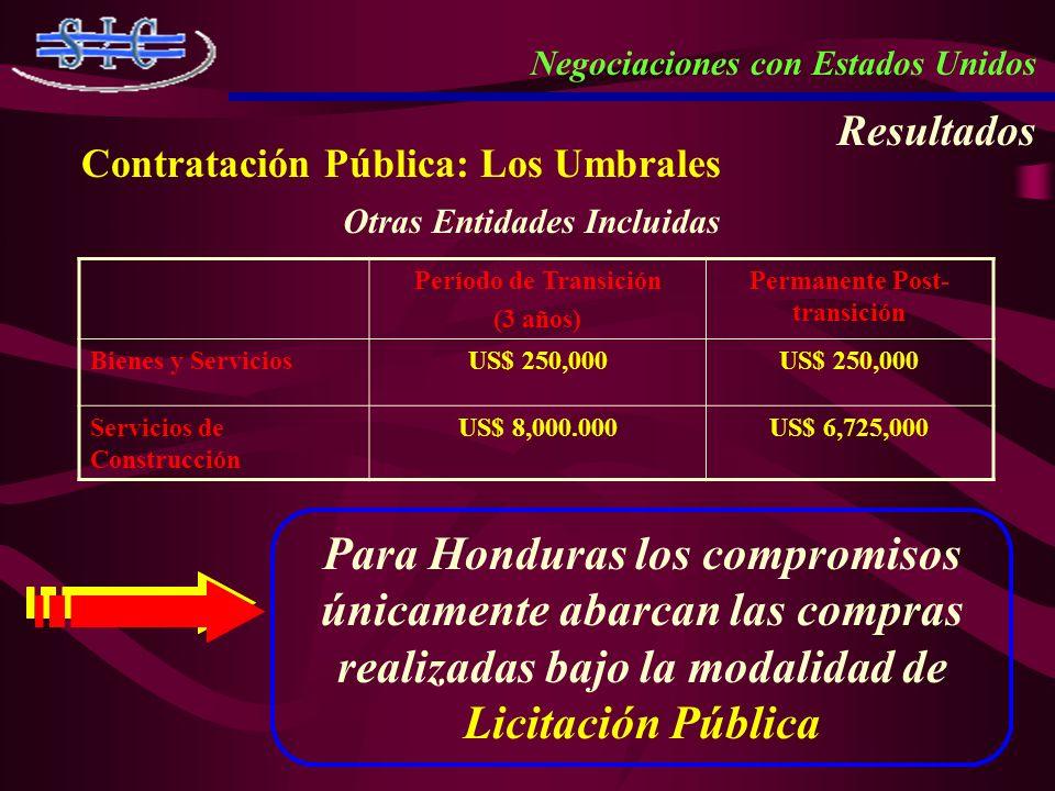 Negociaciones con Estados Unidos Resultados Contratación Pública: Los Umbrales Período de Transición (3 años) Permanente Post- transición Bienes y Ser