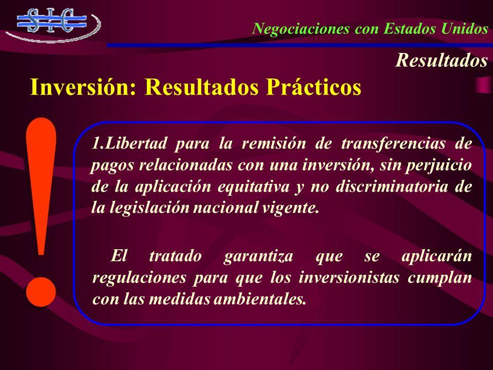Negociaciones con Estados Unidos Resultados Inversión: Resultados Prácticos ! ! 1.Libertad para la remisión de transferencias de pagos relacionadas co