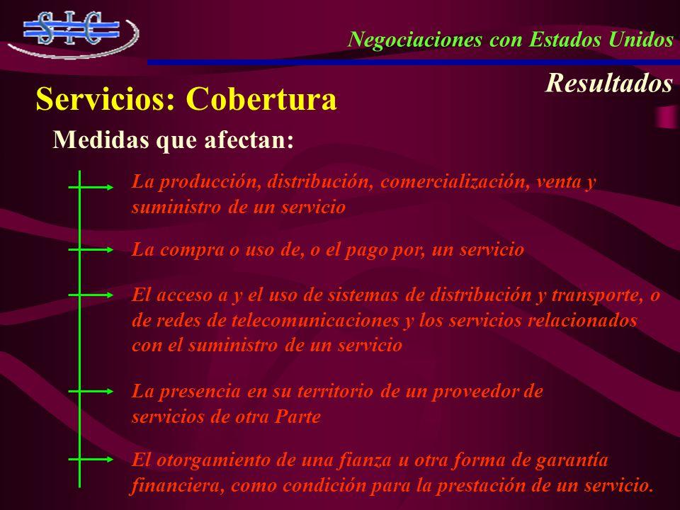 Servicios: Cobertura Medidas que afectan: La producción, distribución, comercialización, venta y suministro de un servicio La compra o uso de, o el pa