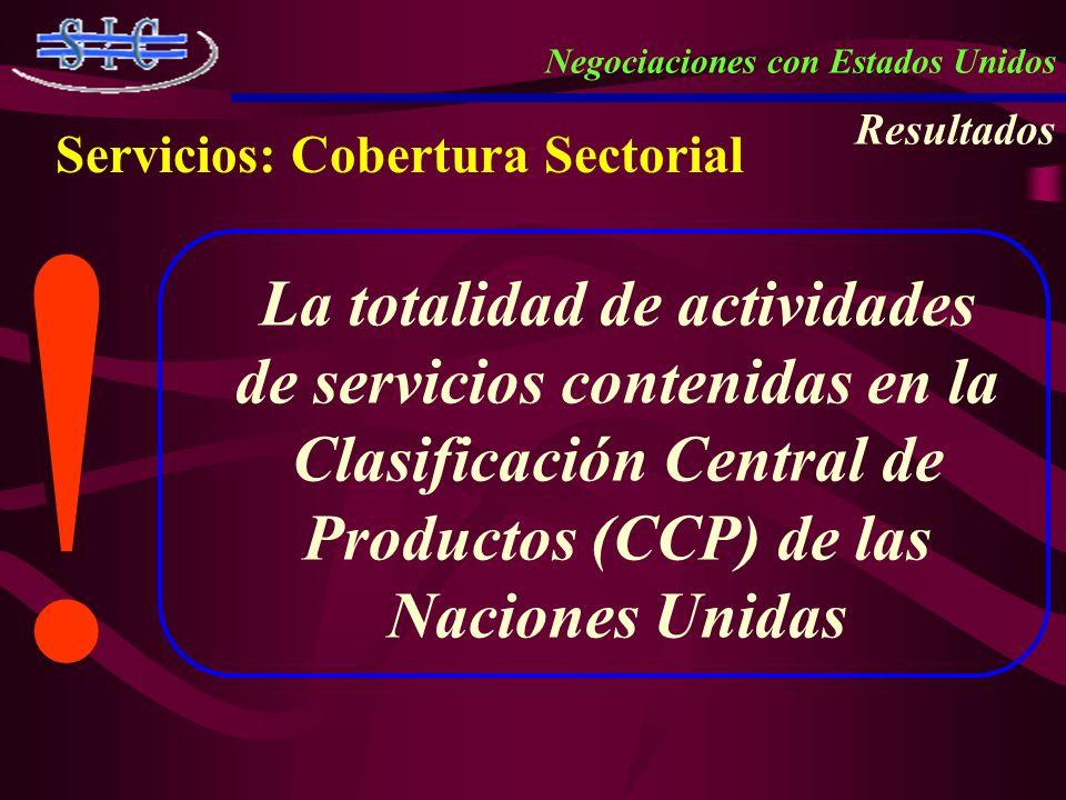 Servicios: Cobertura Sectorial Negociaciones con Estados Unidos Resultados ! ! La totalidad de actividades de servicios contenidas en la Clasificación