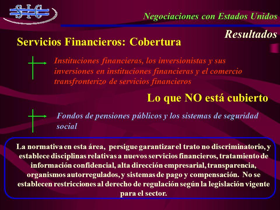 Negociaciones con Estados Unidos Resultados Servicios Financieros: Cobertura Instituciones financieras, los inversionistas y sus inversiones en instit