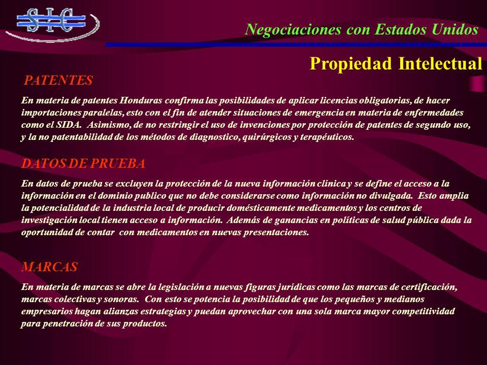 PATENTES En materia de patentes Honduras confirma las posibilidades de aplicar licencias obligatorias, de hacer importaciones paralelas, esto con el f