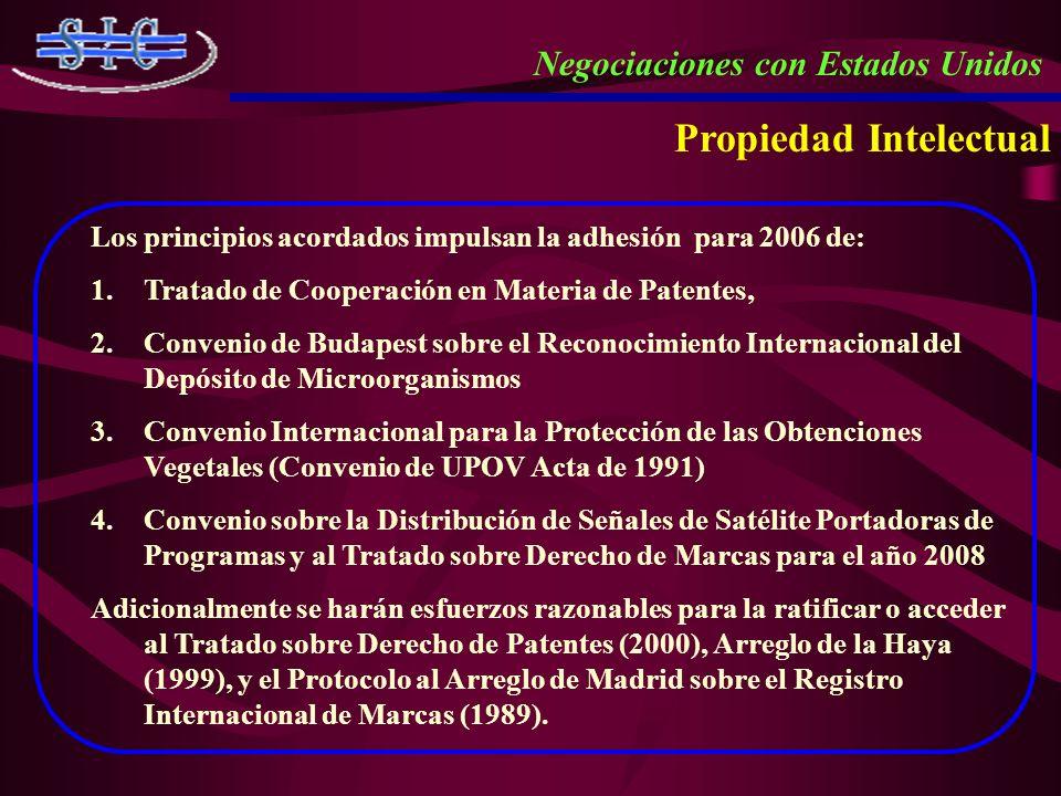 Propiedad Intelectual Negociaciones con Estados Unidos Los principios acordados impulsan la adhesión para 2006 de: 1.Tratado de Cooperación en Materia