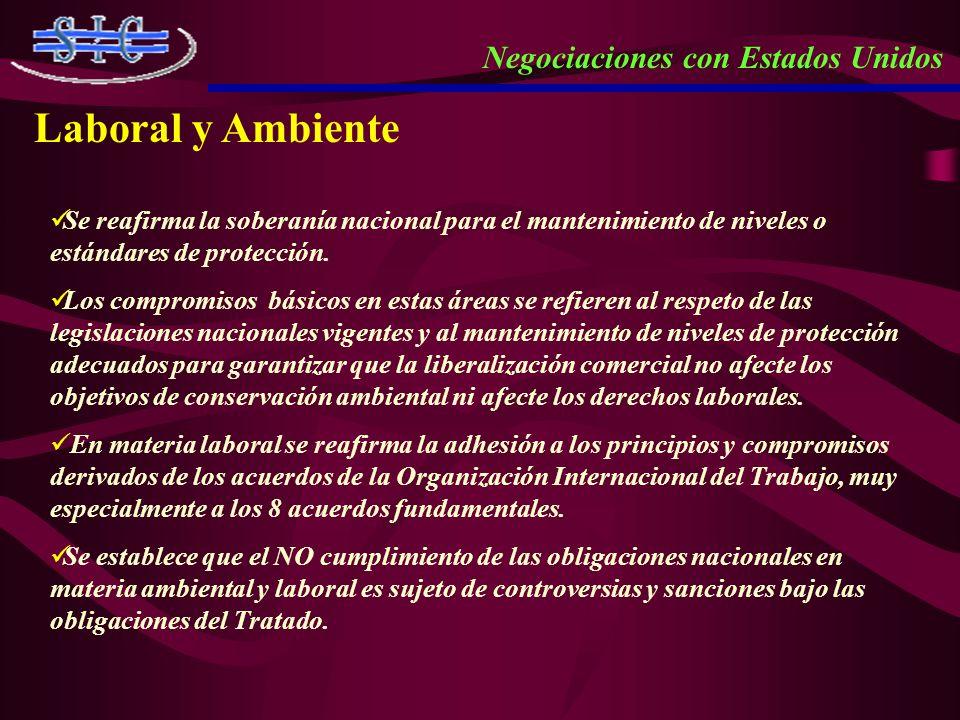 Se reafirma la soberanía nacional para el mantenimiento de niveles o estándares de protección. Los compromisos básicos en estas áreas se refieren al r