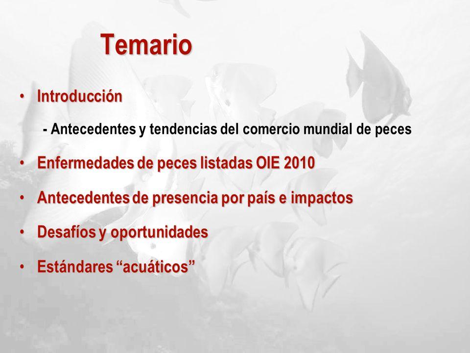 Temario Introducción Introducción - Antecedentes y tendencias del comercio mundial de peces Enfermedades de peces listadas OIE 2010 Enfermedades de pe