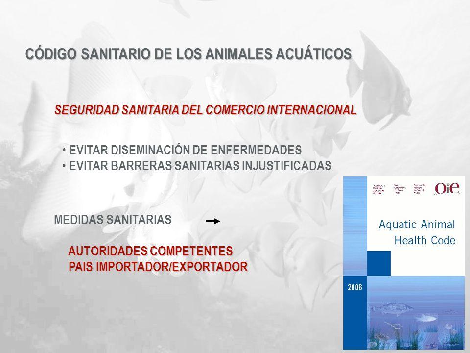 CÓDIGO SANITARIO DE LOS ANIMALES ACUÁTICOS SEGURIDAD SANITARIA DEL COMERCIO INTERNACIONAL MEDIDAS SANITARIAS AUTORIDADES COMPETENTES AUTORIDADES COMPE