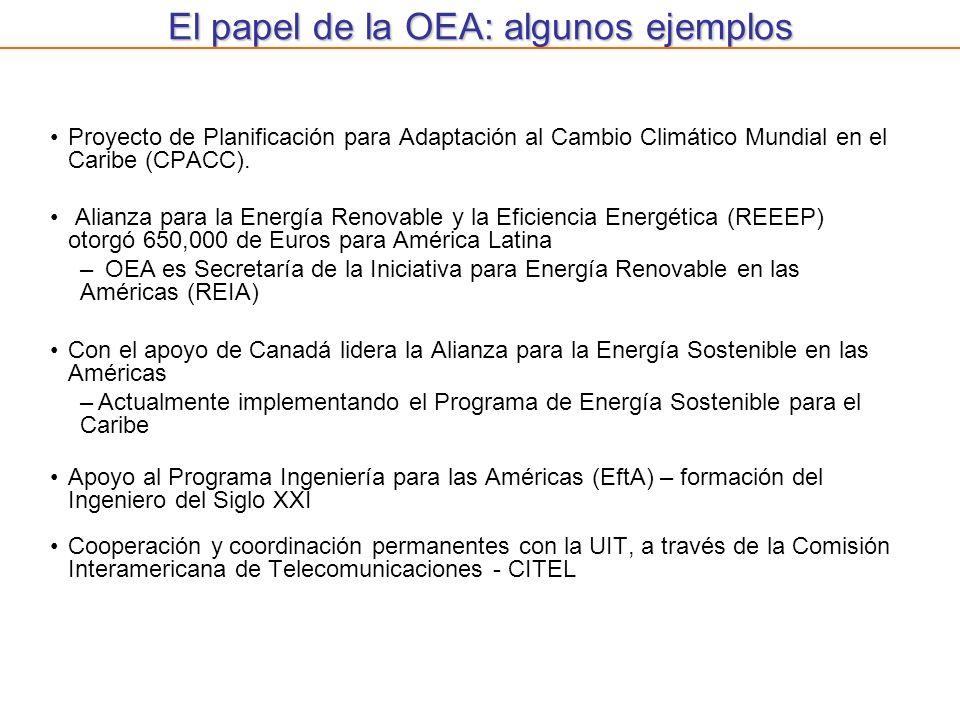 El papel de la OEA: algunos ejemplos Proyecto de Planificación para Adaptación al Cambio Climático Mundial en el Caribe (CPACC). Alianza para la Energ