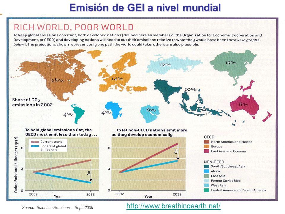 Emisión de GEI a nivel mundial Source: Scientific American – Sept. 2006 http://www.breathingearth.net/
