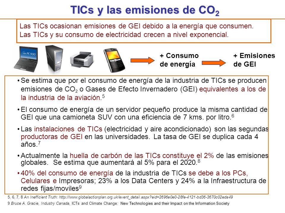 TICs y las emisiones de CO 2 Se estima que por el consumo de energía de la industria de TICs se producen emisiones de CO 2 o Gases de Efecto Invernade